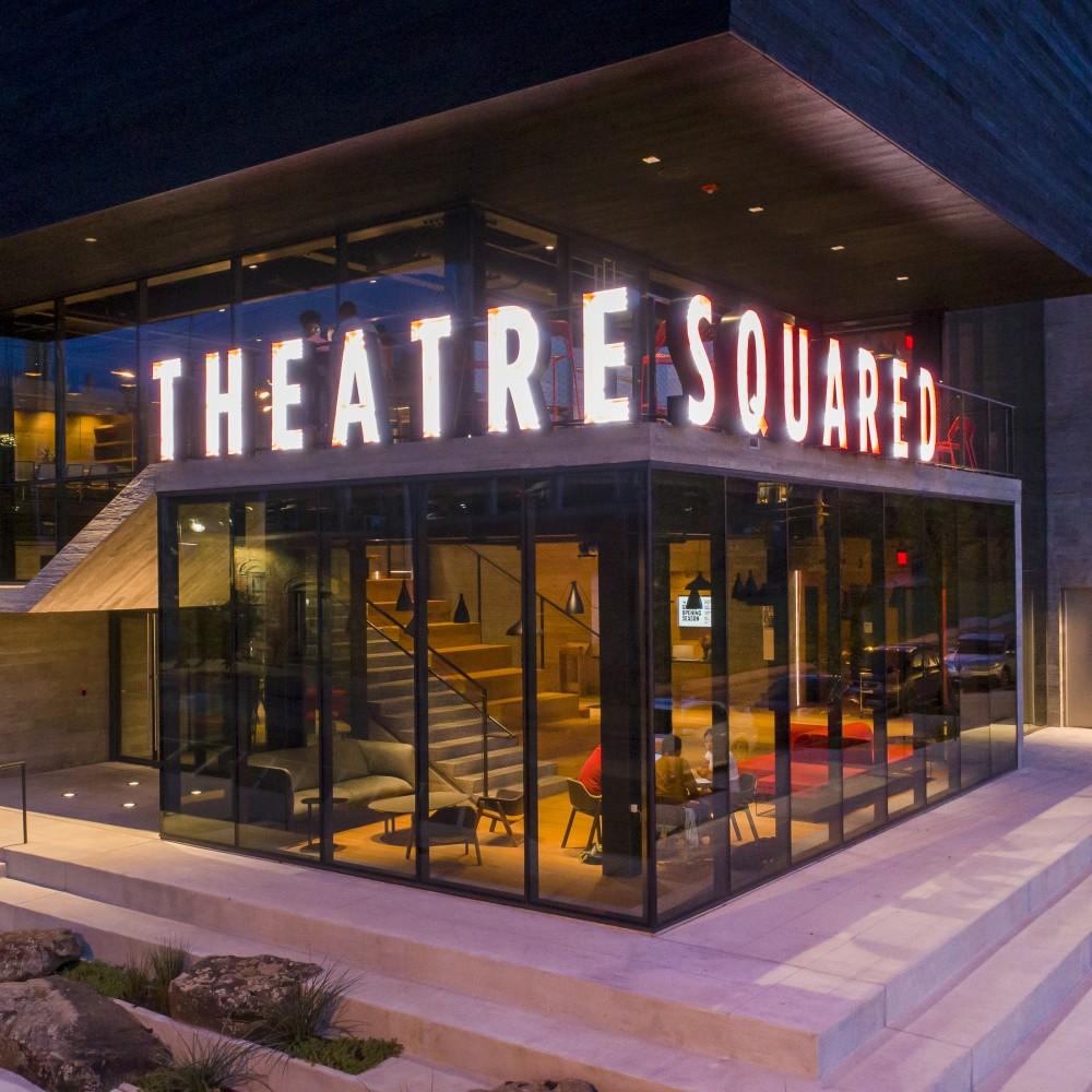 TheatreSquared T2 sign closeup