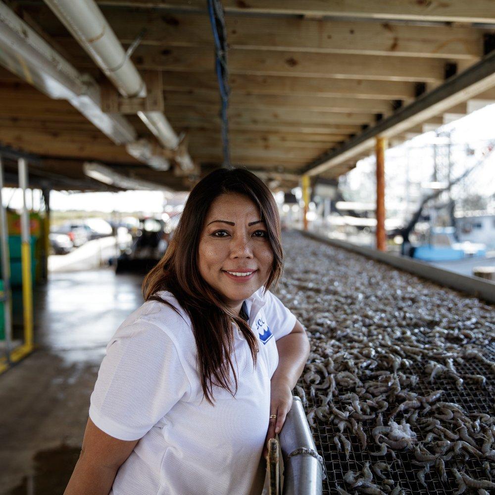 Sandy Nguyen portrait with shrimp